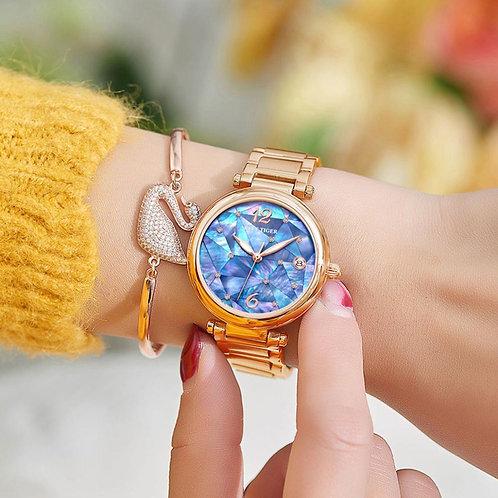 2019 Reef Tiger/RT Brand New Design Fashion Ladies Watch Rose Gold Blue Dial Mec