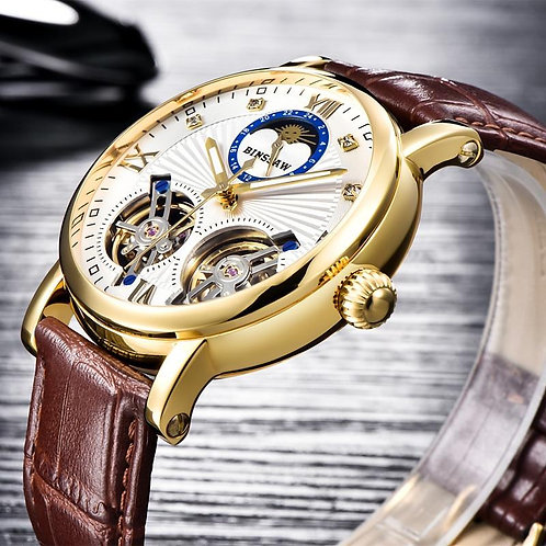 BINSSAW New Men Double Tourbillon  Automatic Mechanical Watch Fashion Luxury Bra