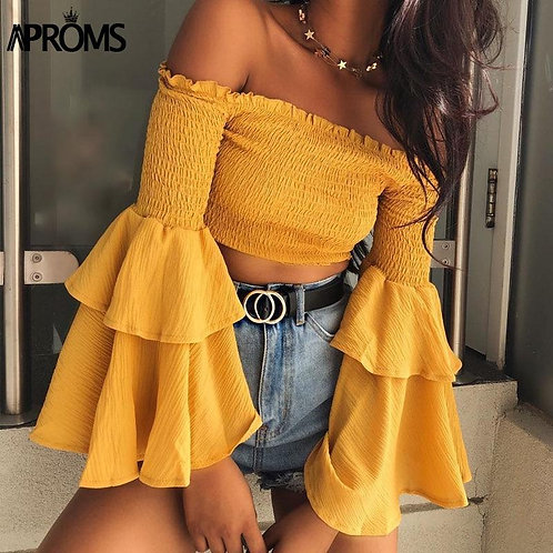 Aproms Sweet Ruffle Flare Sleeve Yellow Blouse Elegant Off Shoulder Streetwear C