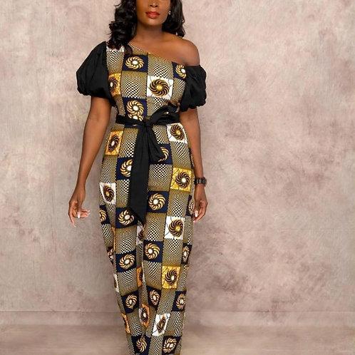 Women Print Off One Shoulder Jumpsuits Short Sleeves Patchwork with Waist Belt W