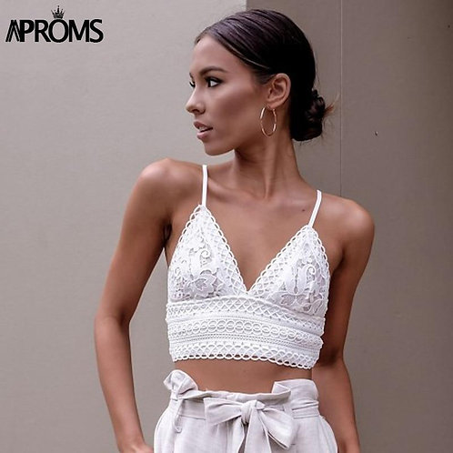 Aproms White Lace Crochet Camisole Cami Women Summer Backless Bow Tie Up Tank To