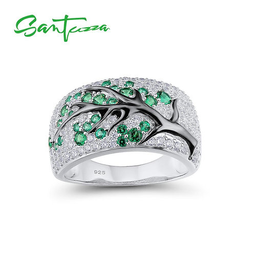 SANTUZZA Silver Ring for Women Green-Spinels Gem Stone Cubic Zirconia Ladies Rin