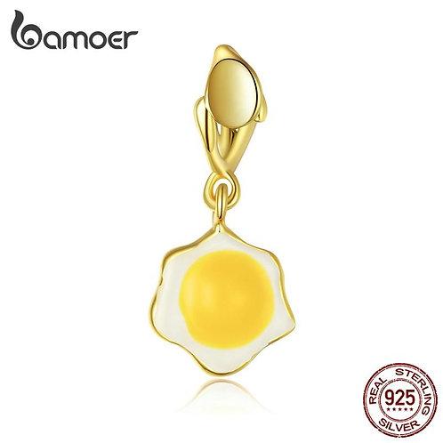 bamoer Silver Poached Egg Pendant Charm fit Original Bracelet for Women gift 925