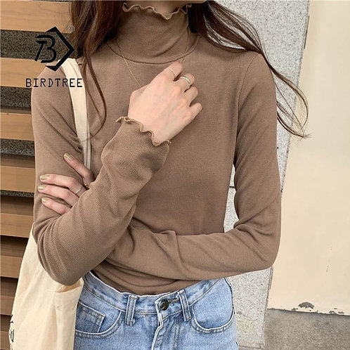 6 Colour 2020 Autumn Winter Women Pullovers Turtleneck Long Sleeve Cotton T-Shir