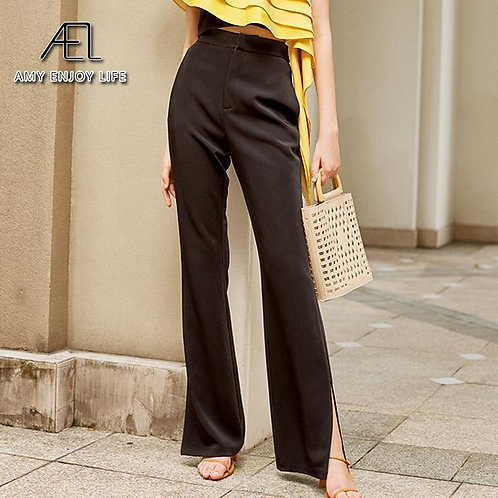 AEL 2020 New Ladies Black flare bottoms split Casual Pants Simple slim Elastic l