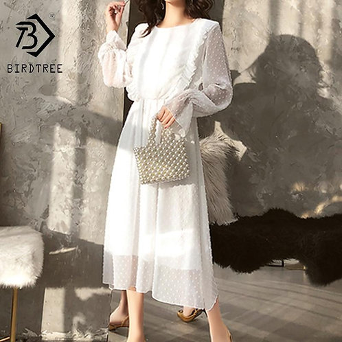2019 Spring and Autumn Women Chiffon White Lace Dress Bohemian Flare Sleeve O-Ne