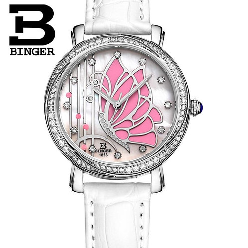 Butterfly Designs BINGER Women Fashion Waterproof Leather Diamond ladies Watch R