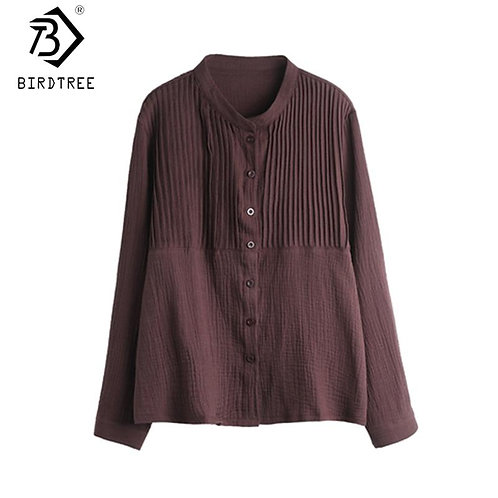 2020 Fall Good Quality Oversize Pleated Women Shirts Stand Collar Single Breaste