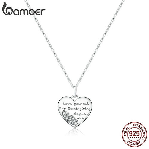 bamoer Sterling Silver 925 Love Letter Plated platinum Pendant Necklace for Wome