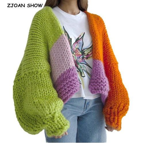 2020 Contrast color Hand Crotch Cardigan Vintage Woman Drop Lantern Sleeve Sweat