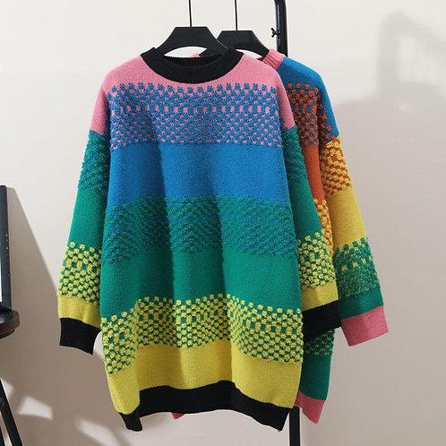 Autumn Winter Women's Top Korean The Rainbow Stripes Mid-length Sweater New Long