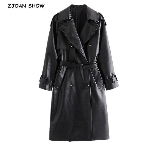 2020 Winter Elegant PU Leather Trench With Belt Women Double-breasted Long Sleev