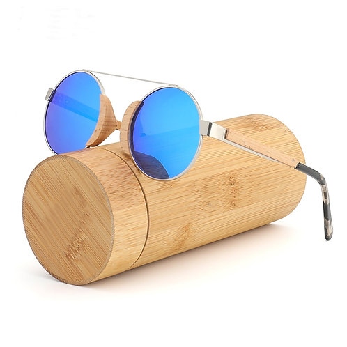 Wooden Bamboo Round Sunglasses for Men and Women Polarized Lens Glasse