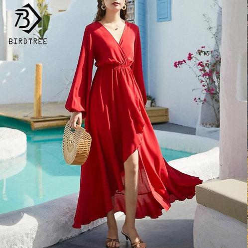 2020 Summer New Women's Dresses Bohemian Lantern Sleeve Ruffles Empire V-Neck Sw