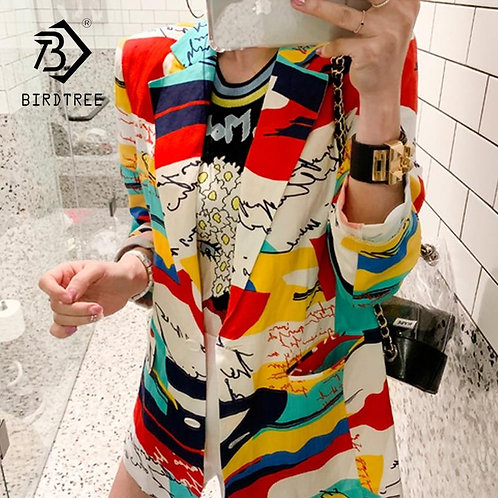2020 Spring and Autumn New Temperament Printing Slim Long-Sleeved Blazer Thin Su