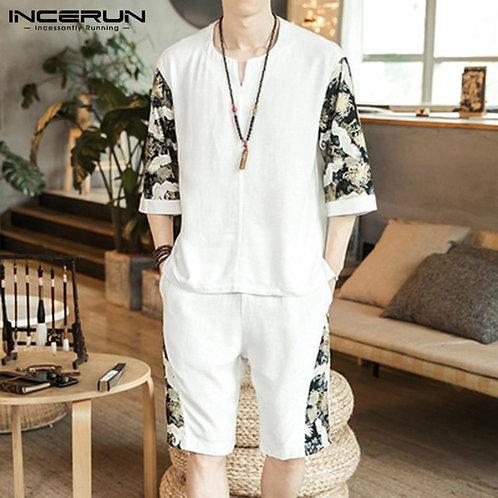 Chinese Style Cotton Men Sets 2020 Patchwork Streetwear Half Sleeve Vintage Shir