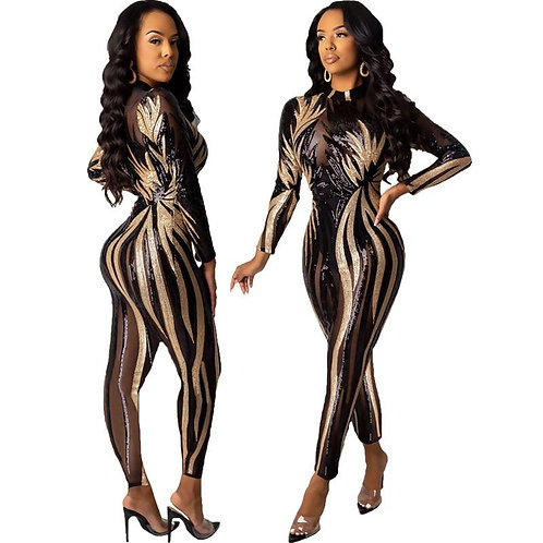 Bodycon Club Fashion Women Jumpsuit Sequined Glitter Sparkle Sexy See Through Tr