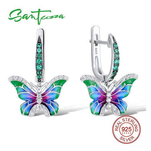 SANTUZZA Silver Earrings For Women 925 Sterling Silver Butterfly Earrings Silver