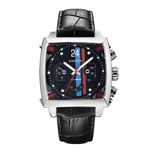Top quality fashion men leather band Waterproof  Mechanical Watches round shaped
