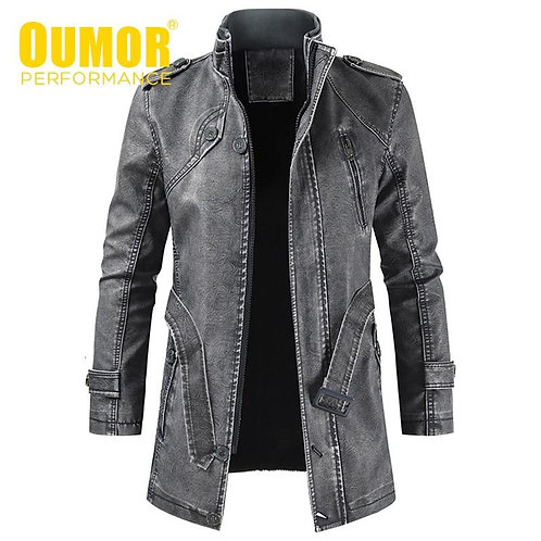 Oumor Men Winter Brand New Long Thick Fleece Leather Jacket Coat Men Outwear Fas