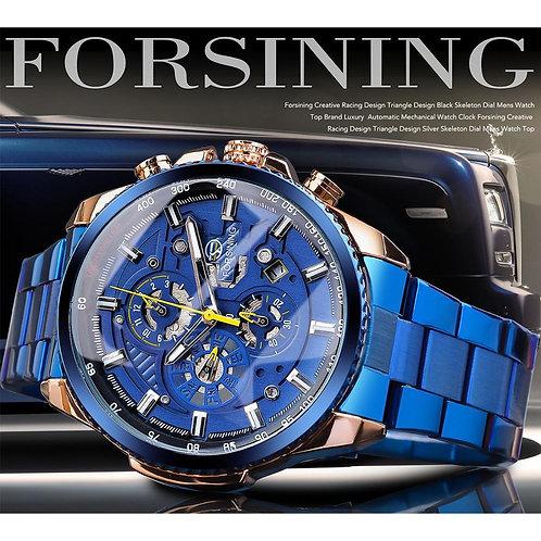 Forsining Rose Golden Case BlueSteel 3 Dial Multifunction Mens Business Sport Au