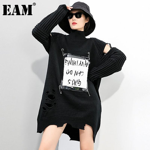 [EAM] Women Black Hollow Out Printed Knitting Dress New Turtleneck Long Sleeve L