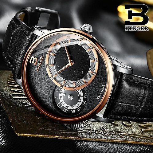 BINGER Dual time zone Men's Watches Top Brand Luxury Military Quartz Watch Men W