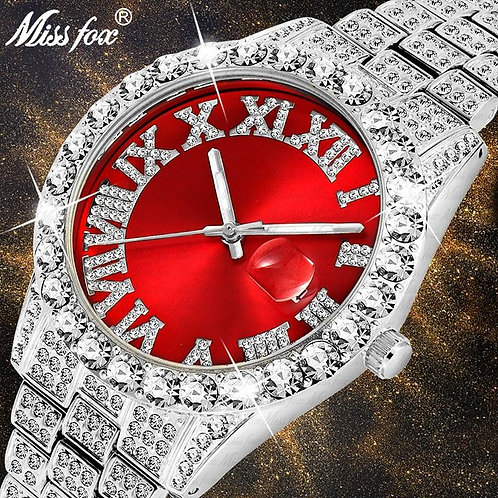 Dropshipping Big Diamond Red Mens Watches Top Luxury Brand 18K Gold Watch Men St