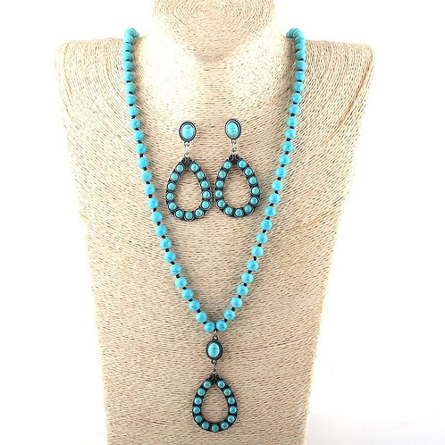 Fashion Jewelry Set Turq Stone / Glass Long Knotted Drop Necklace Earring set