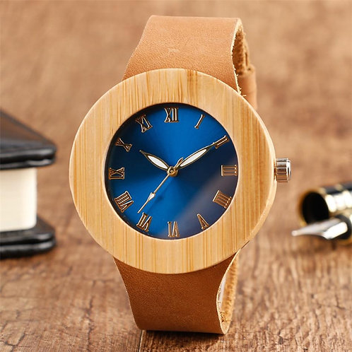 Chic Blue/Green Round Dial Bamboo Wood Women's Watches Quartz Brown Genuine Leat