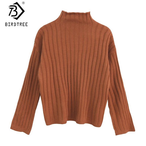 2020 Fall Winter Turtleneck Women Knitted Sweaters Long Sleeve Chic Pullovers Fa