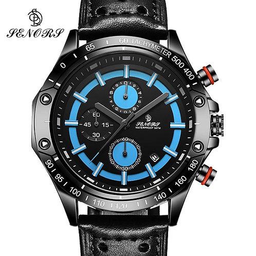 Men's Watch Chronograph Stopwatch Sport Quartz-watch Man Military Leather Wrist