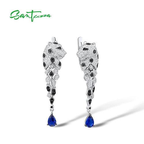 SANTUZZA Silver Earrings For Women 925 Sterling Silver Leopard Sparkling Blue Cu