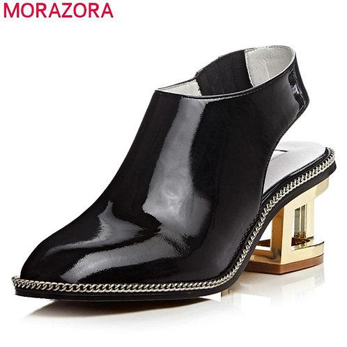 MORAZORA New Brand 2020 fashion women pumps genuine leather black white color la