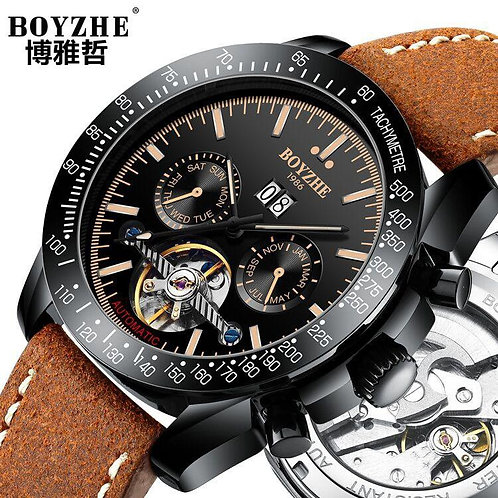 BOYZHE New Automatic Mechanical Watch men Hollow Mechanical Watch Mens Tourbillo