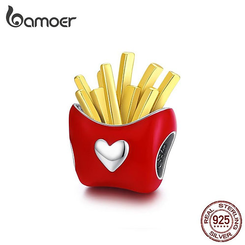bamoer Delicious Fries  Metal Beads Sterling Silver 925 Enamel Charm fit Origina