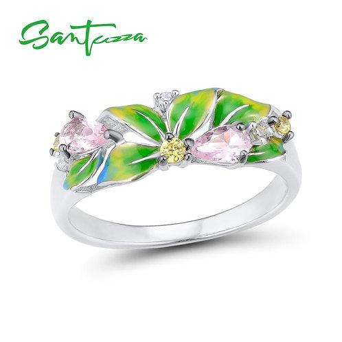 SANTUZZA Silver Ring For Women Pure 925 Sterling Silver Delicate Green Leaves Cu