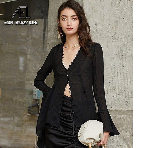 AEL Black Slim sexy V neck Blouse Office Ladies casual Top Women Long Sleeve Shi
