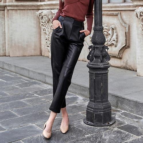 AEL Women Thin cotton PU Leather Pants black New Female Elastic Stretch Faux Lea