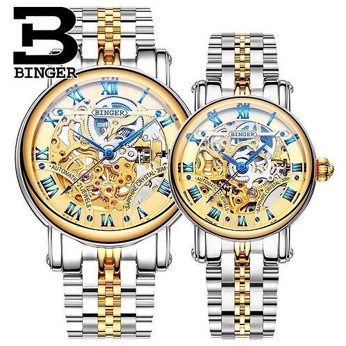 2016 New Watches BINGER Couple Automatic Watch Men Top Quality Skeleton Mechanic