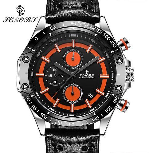 Big Dial Fashion Sport Chronograph Men's Quartz Wristwatch Leather Band Stop Wat