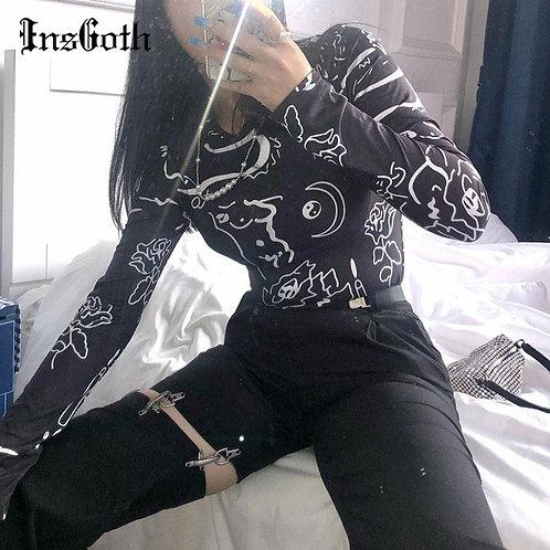 InsGoth Vintage Gothic Rose Print Black Tops Harajuku Punk Bodycon Long Sleeve T