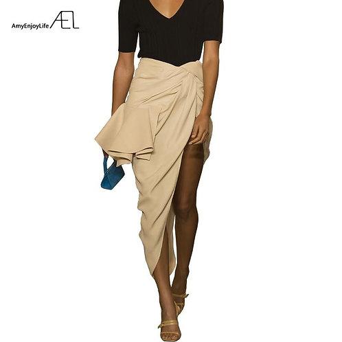 AEL High Split Skirt Draped Asymmetric Woman New Runway Skirts 2019 Fashion Fema