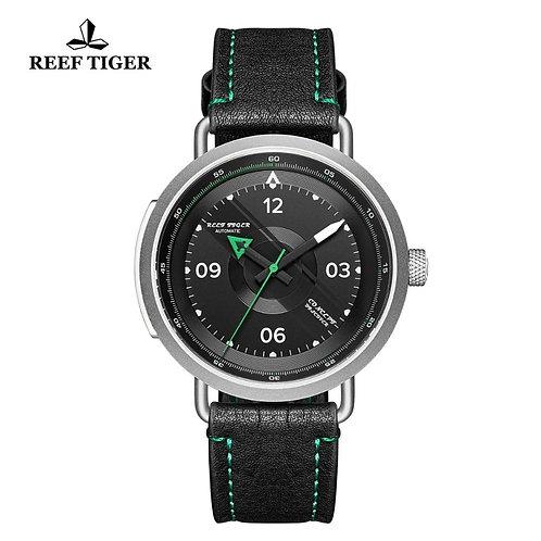 2020 Reef Tiger/RT New Design Simple Watch Men Leather Strap Steel Waterproof Mi