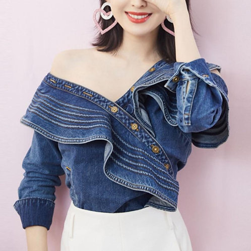 DEAT 2020 new V-neck full sleeves off one shoulder ruffles sleeves metal button