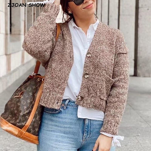 French Style Front Single Pocket Knitting Cardigan Women Single-breasted Button