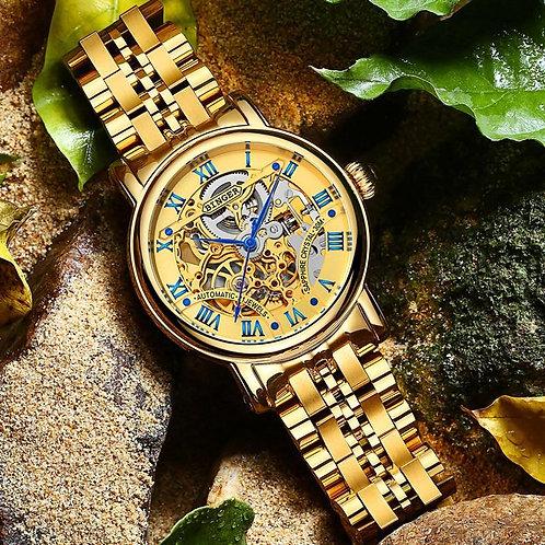 BINGER Luxury Gold Automatic Watches Skeleton Fashion Business Watch  Men Mechan