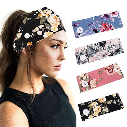 2 PCs Soft Flower Print Headwear Earmuff Headband With Button For Women Outdoor