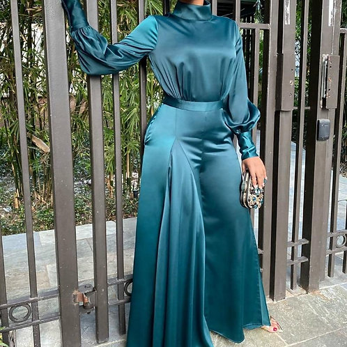Women Green Jumpsuits Long Sleeves Turtleneck Silk Elegant Fashion Hig Waist Fem
