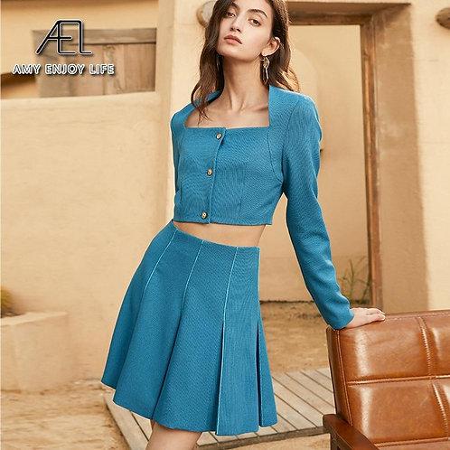 AEL Two-Piece Women Dress Elegant Square Neck Long Sleeve Button Skirt Suits A-L